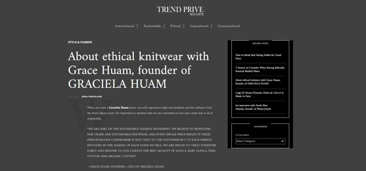 Trend Prive Magazine Graciela Huam