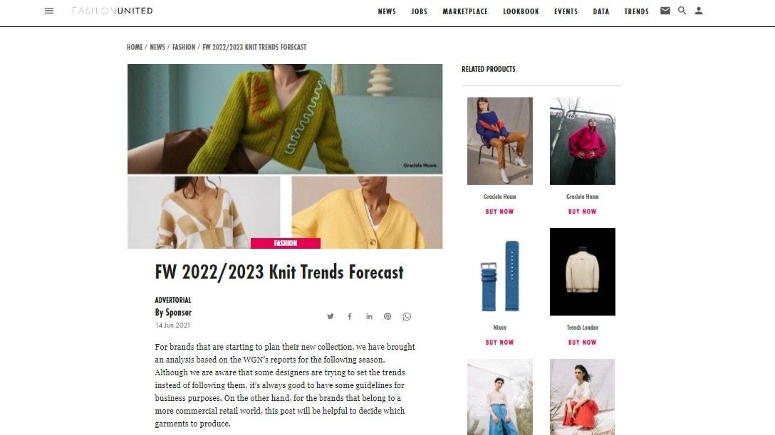 Fashion United FW22-23 Knit trends forecast