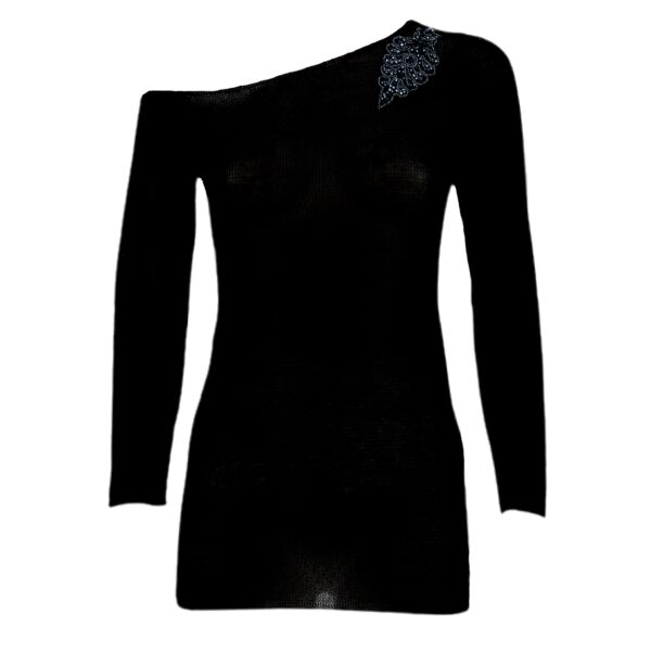 maxima pima cotton sweater black front