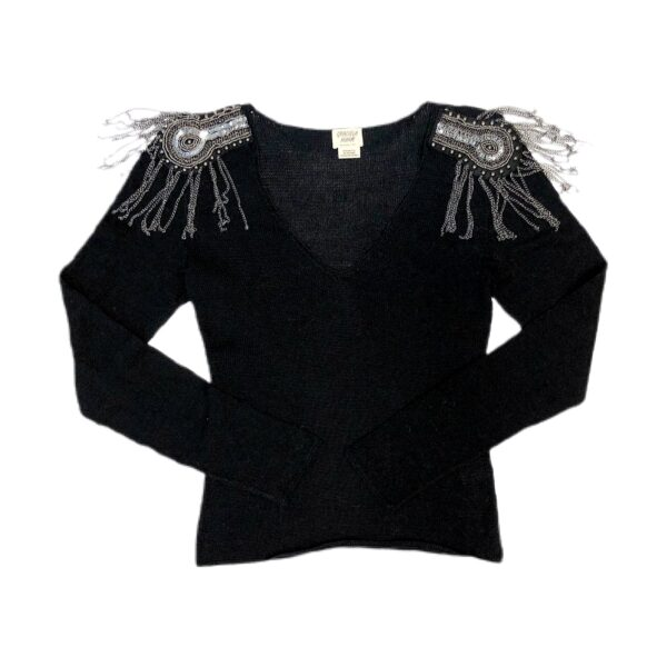 majo embroidery knitted sweater black 3