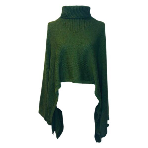 ine alpaca poncho green