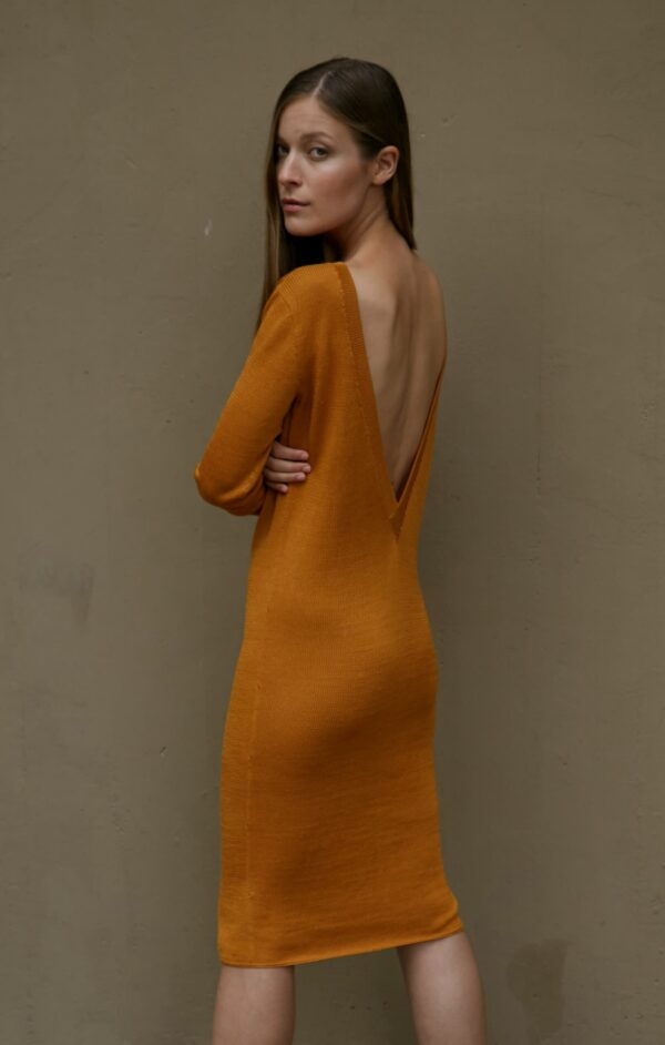 carmen v back dress mustard